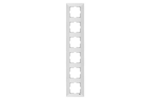 VIKO MERIDIAN белый рамка 6 местная вертикальная