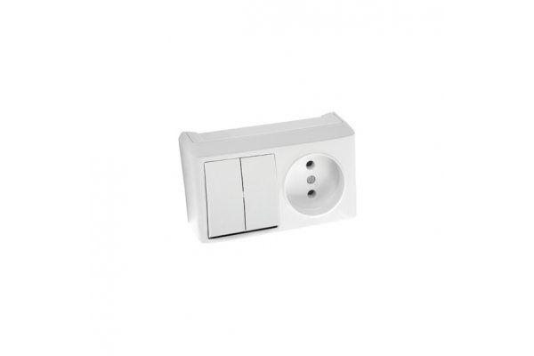 VIKO VERA белый блок горизонтальный выключатель двухклавишный + Розетка