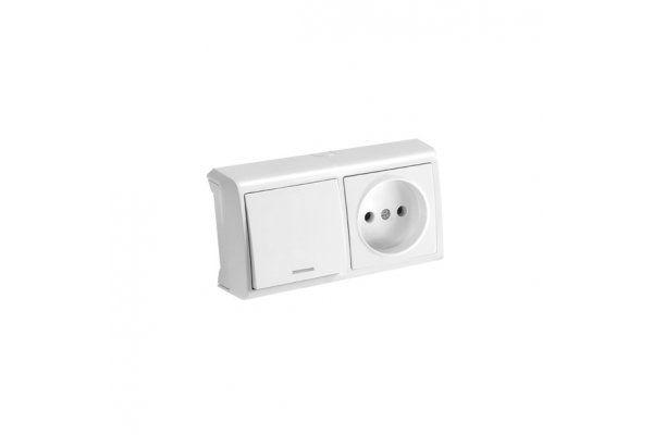 VIKO VERA белый блок горизонтальный выключатель с подсветкой + Розетка