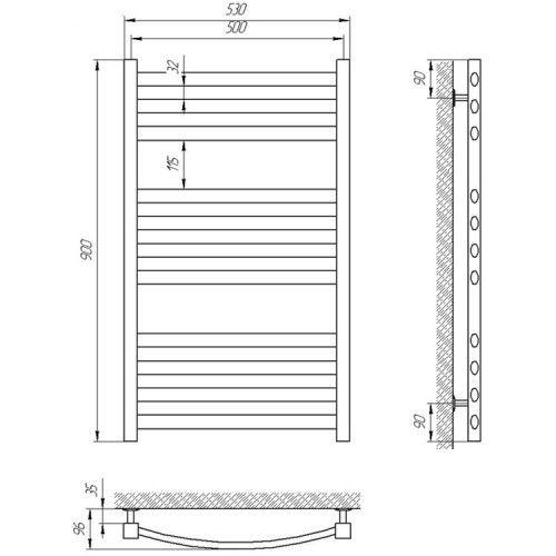 Полотенцесушитель Laris Гранд П11 500х900 mm