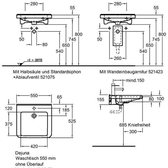 Умывальник Keramag Dejuna для людей с ограниченными возможностями 550 x 525 мм с отверстием под смеситель с переливом