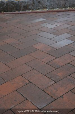 Тротуарная плитка Кирпич Стандартный без фаски (сиена) 200х100 (6 см) цена
