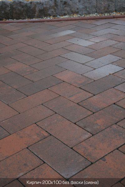 Тротуарная плитка Кирпич Стандартный без фаски (сиена) 200х100 (6 см)