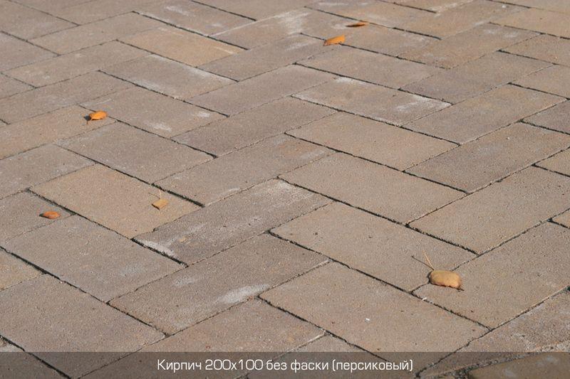 Тротуарная плитка Кирпич Стандартный без фаски (персиковый) 200х100 (6 см)