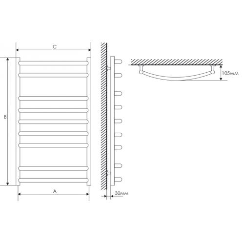 Полотенцесушитель Laris Классик П9 500х900 mm