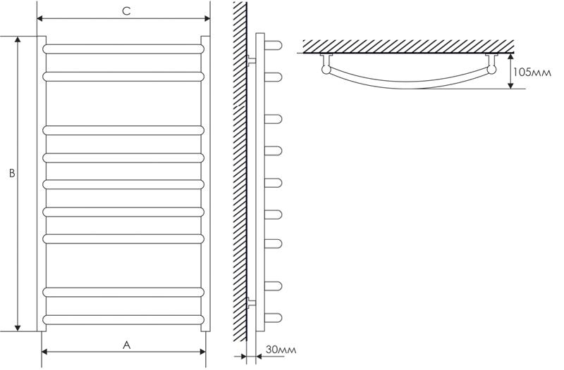 Полотенцесушитель Laris Классик П15 500х1500 mm