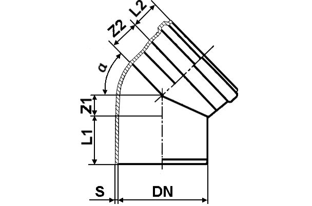 Мпласт Колено DN 160/45 град. для наружной канализации