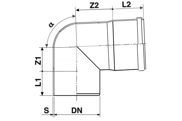 Мпласт Колено DN 110/87 град. для наружной канализации