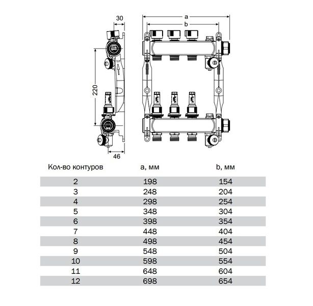 """77311011 Коллектор TECE S-HKV 11 с ротаметрами, 1"""" (нерж. сталь)"""