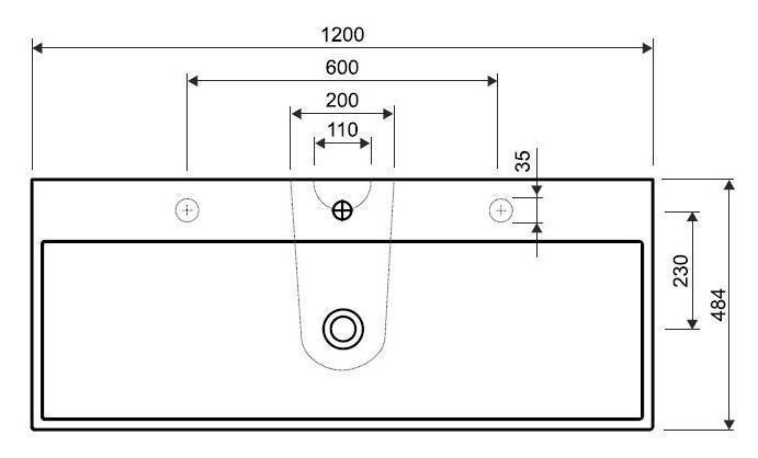 Умывальник Kolo QUATTRO 120 см с двумя отверстиями