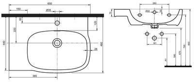Умывальник Kolo Style 65 см, с отверстием, ассиметричная левый цена