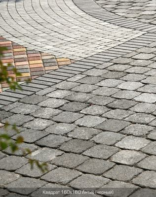 Тротуарная плитка Квадрат Антик 160х160 (черный полный прокрас) (9 см) цены