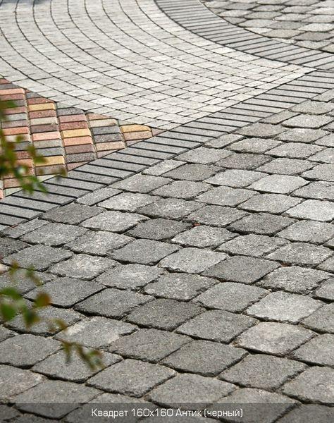 Тротуарная плитка Квадрат Антик 160х160 (черный полный прокрас) (9 см)
