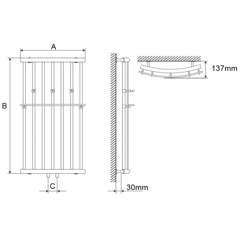 Полотенцесушитель Laris Ларис П 500х1200 mm