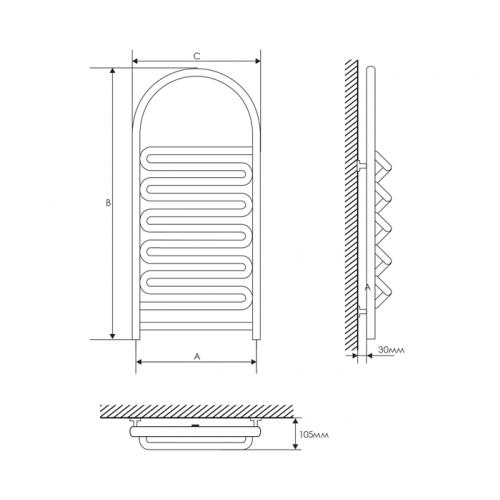 Полотенцесушитель Laris Лиана П 400х900 mm