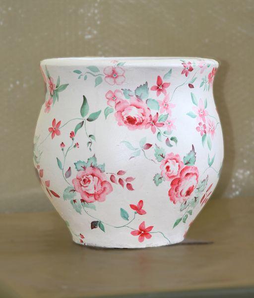 Бетонная ваза Луиза (белый)