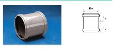 WAVIN EKOPLASTIK Муфта двухраструбная ВТ/ПВХ; 75 (3060681821) для внутренней канализации цена