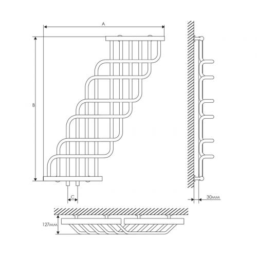 Полотенцесушитель Laris Ниагара П32/25 370х1200 mm