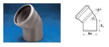 WAVIN Отвод ПП; 40/45 град. (3261450140) для внутренней канализации цена