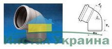 WAVIN EKOPLASTIK Отвод ВТ/ПВХ; 75/67 град. (3060341851) для внутренней канализации