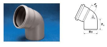 WAVIN Отвод ВТ/ПВХ; 75/67 град. (3060341851) для внутренней канализации