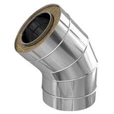 Колено из нержавеющей стали с термоизоляцией в нержавеющем кожухе 45 град; 0,5 мм ф140/200