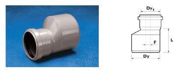 WAVIN EKOPLASTIK Переход ПП, серый; 50/40 (3061561211) для внутренней канализации