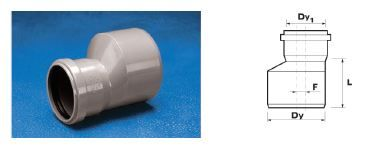 WAVIN EKOPLASTIK Переход ПП, серый; 50/32 (3061551241) для внутренней канализации