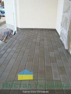 Тротуарная плитка Кирпич Стандартный (серый) 200х100 для пешеходной зоны (4 см)