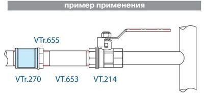 VTr.270.N.0008 Муфта НИКЕЛЬ 1 1/2 R Valtec цена