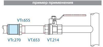 VTr.270.N.0006 Муфта НИКЕЛЬ 1 R Valtec цена