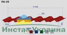 Профнастил ПК-35 кровельный 0,65 х 1110/1080 мм. Цинк Украина.