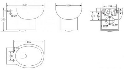 Подвесной унитаз Primera Shape c сиденьем дюропласт, Soft close