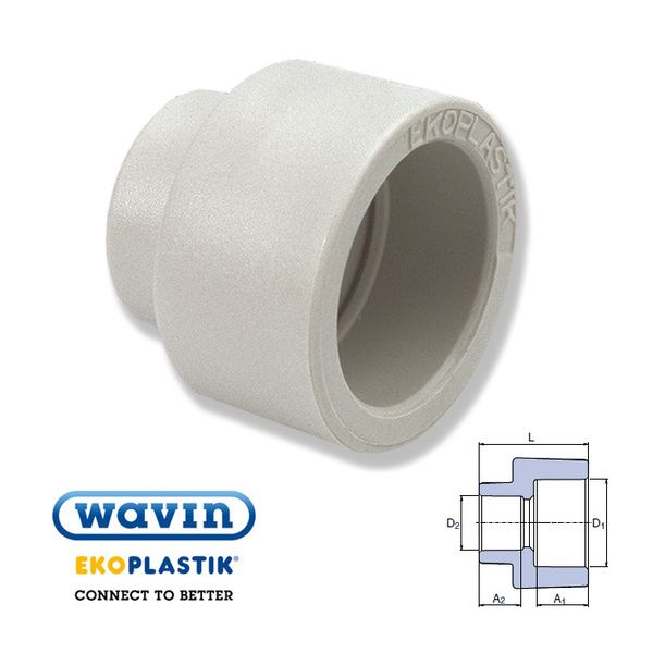 Wavin Ekoplastik Полипропиленовая редукционная муфта (внутр/внутр) 25x20