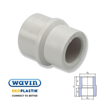 Wavin Ekoplastik Полипропиленовая редукционная муфта (нар/внутр) 25x20 цены