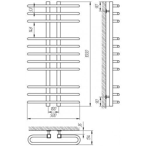 Полотенцесушитель Laris Сахара Премиум П9 500х900 mm