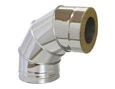 Колено из нержавеющей стали с термоизоляцией в нержавеющем кожухе 90 град; 1,0 мм ф300/360
