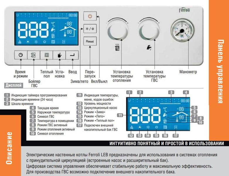 Котел электрический Ferroli LEB 9.0-TS
