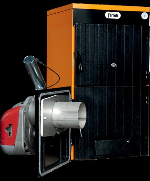 Пеллетный котел Ferroli SFL / 3 + горелка SUN P7 + бункер 195 л + дверца для перехода на (дрова/уголь)