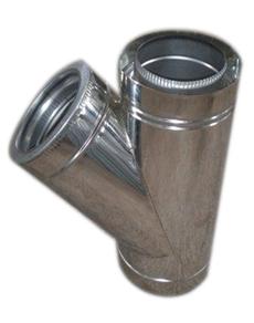 ТРОЙНИК из нержавеющей стали (AISI 304) с термоизоляцией в нержавеющем кожухе 45 град; 0,5 мм ф120/180