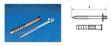 WAVIN EKOPLASTIK Винт М8 с двусторонней резьбой и распорным дюбелем; 100 (3186510020) для внутренней канализации