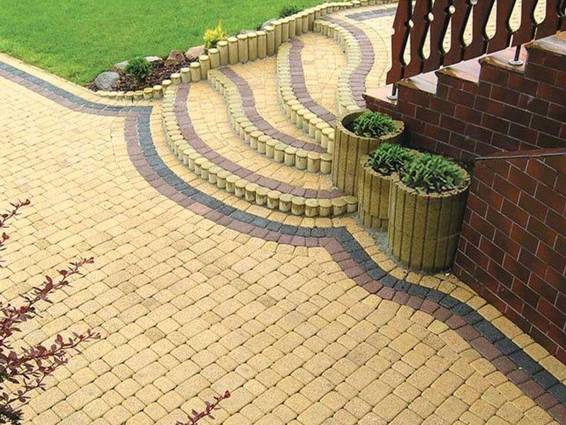 Тротуарная плитка Старая площадь 300х300 (желтый) для пешеходной зоны (4 см)