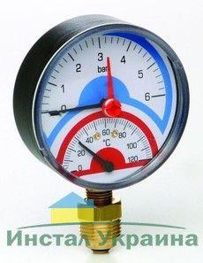 Термоманометр Д80 ааксиальное 1/2 R 6 бара