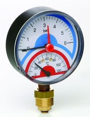 Термоманометр Д80 аксиальное 1/2 R 4 бара (0-120) цена