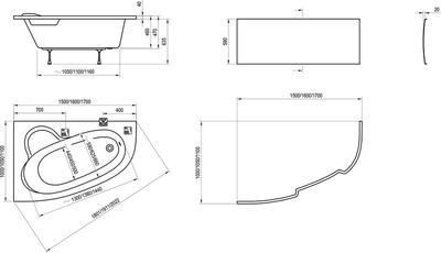 Акриловая ванна Ravak Asymmetric 150 x 100 R правосторонняя цена