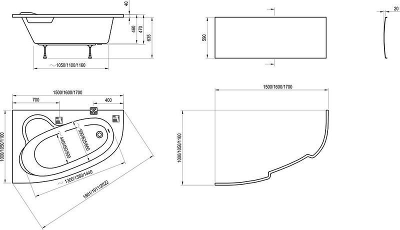Акриловая ванна Ravak Asymmetric 150 x 100 R правосторонняя