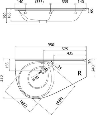 Умывальник Ravak Avocado Comfort 950х450 левосторонний цены