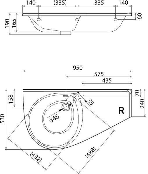 Умывальник Ravak Avocado Comfort 950х450 левосторонний