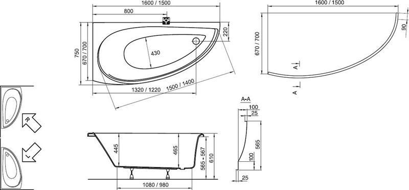Акриловая ванна Ravak Avocado 160 x 75 L левосторонняя
