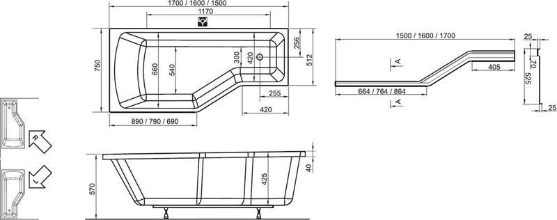 Акриловая ванна Ravak BeHappy 150 x 75 L левосторонняя